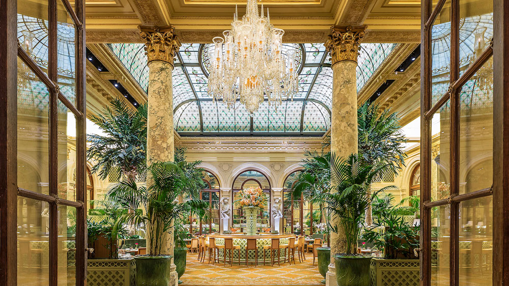 The Palm Court's signature soaring stained-glass dome at The Plaza in New York City.