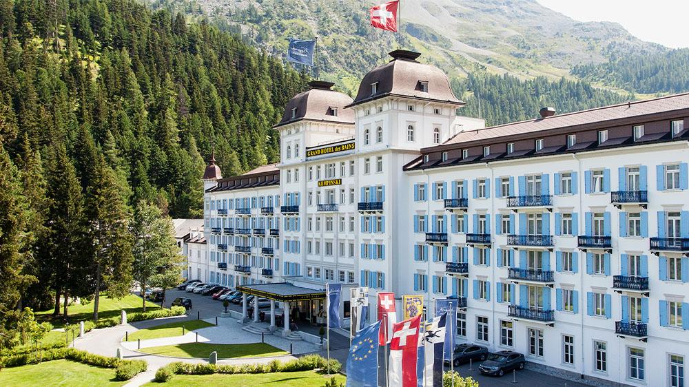 Daytime exterior of Kempinski Grand Hotel des Bains St. Moritz in Switzerland.