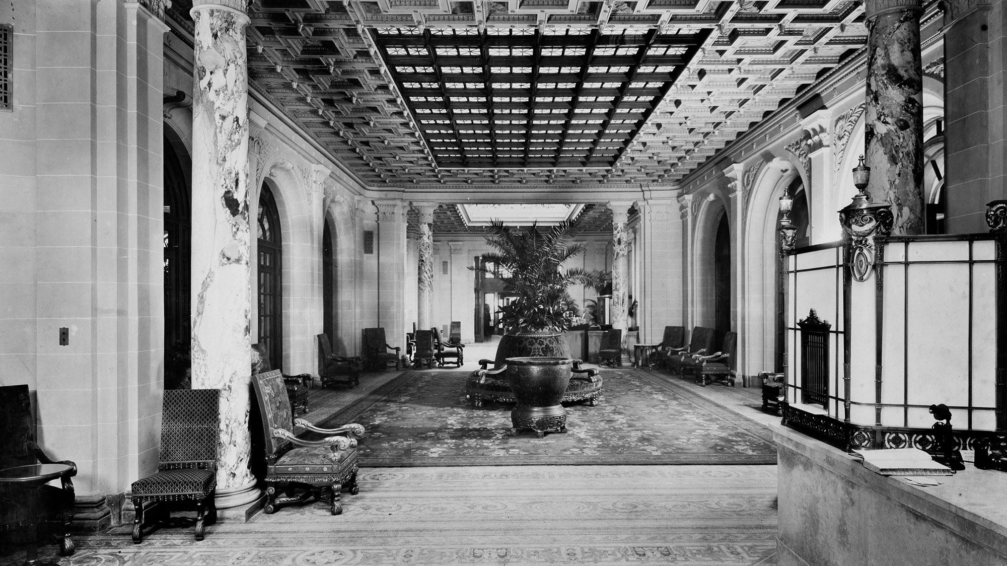 Historic Image of Lobby From Front Desk Fairmont Copley Plaza in Boston, Massachusetts.