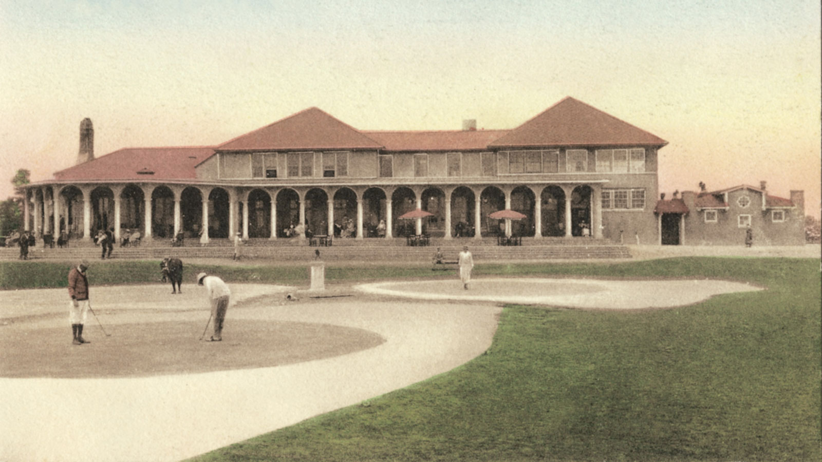 Historical Image of Active Golfers on Postcard Pinehurst Resort North Carolina