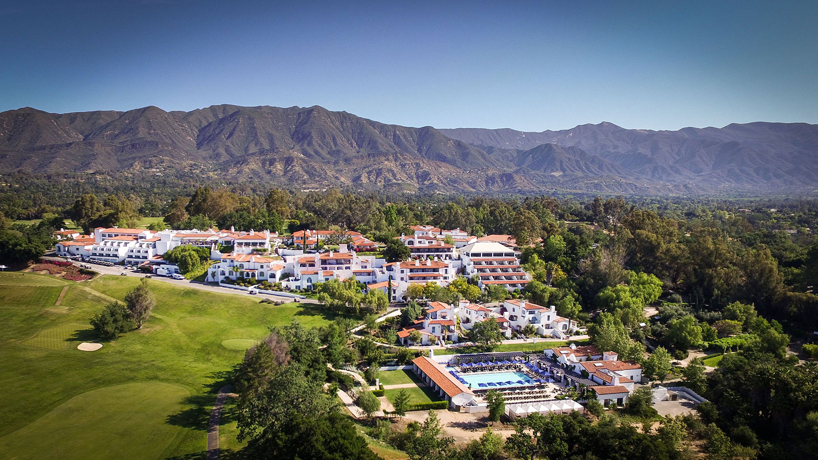 Discover the grand Spanish Colonial-style façade of the Ojai Valley Inn.